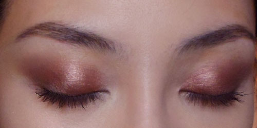 Soft Winged Eyes for Work/School using 2 Sables —  MAC Sable layered over Revlon Soft Sable! The rich mauve-toned metallic brown can make some eyes look a little bruised. Layering it over a dark matte brown on the outer lids gives it depth and keeps it from looking too red against some skin tones.Just smoke it straight outwards at the outer 1/3 of the lids for a slight wing. This is the easy way to wear smoky eyes without it looking too over-the-top for work!
