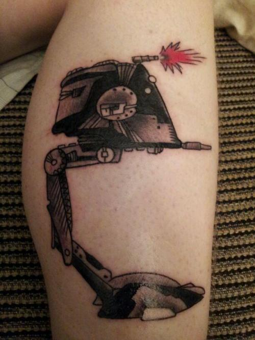 my boyfriend just got his first tattoo! its an atst from star wars, done by charles spataro of resurrected tattoo in syracuse ny. hes already planning more star wars tattoos to cover his leg :) http://www.facebook.com/charlesspataro http://www.facebook.com/cw.slate http://cleanslatetbl.tumblr.com/