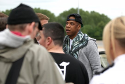 Jay-Z got a nice surprise when he landed at the Manchester venue ahead of his second show at the arena. He was mobbed by fans who broke down a security barricade wanting pictures and autographs.