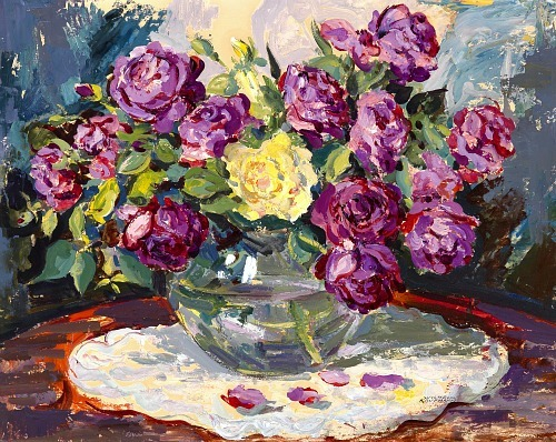 Wilhelm Kaufmann Vase with Peonies 20th century