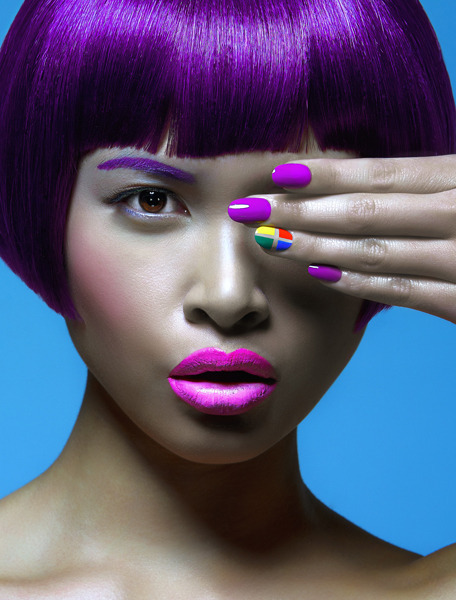 happyhues:  Purple and primaries! (via Angel Williams, Fashion Manicurist | Beautylish)