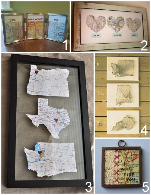 "truebluemeandyou: DIY Map Based Romantic Crafts. Most of these are so easy and cheap to make.  Five DIY Map Based Romantic Crafts: DIY Framed Maps ""You, Where we met, Me"" (melodyannesp) here. via melodyannesp   DIY Love Map (Minimoz) here. DIY Map Wall Art (kayla danelle) here. via throughherprettyeyes  DIY Heart String Art ""Him, Us, Her"" (Southern Belle Soul) here.  DIY ""I Will Find You"" Map and Lace Pendant Necklace (Maxium Rabbit Designs) here."