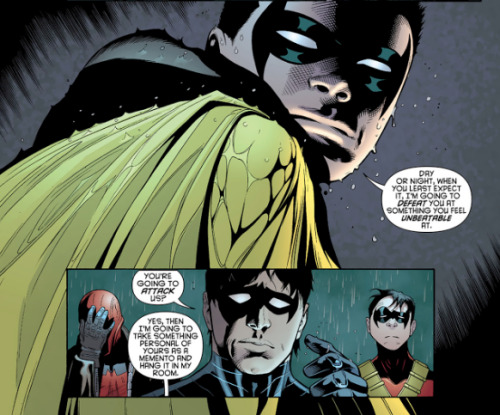 hamburgerjack:  fuckyeahheroesandvillains:  Damian letting the other Robins know he's coming for them!  No one can beat Jason at being the left out son. You can't beat Tim at, all my friends diiiiiied, and you can't beat Dick at having a fabulous butt. Like, what will you do Damian? Take his disco costume? Lol Damian is so ten in this. Does Broose know? crying at their faces omfg.  I hope for Dick it's something mundane, like eating the most cereal.