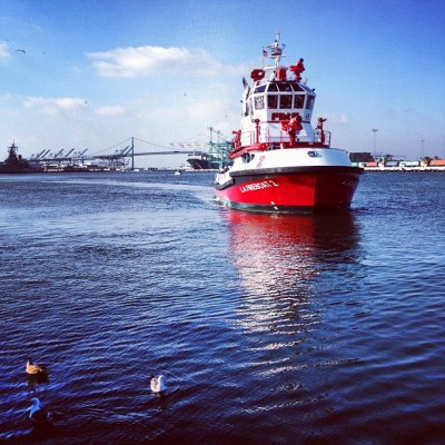 dan-yull:  #SanPedro #LAFD #boat #harbor #VincentThomasBridge (Taken with Instagram at San Pedro Fish Market and Restaurant)