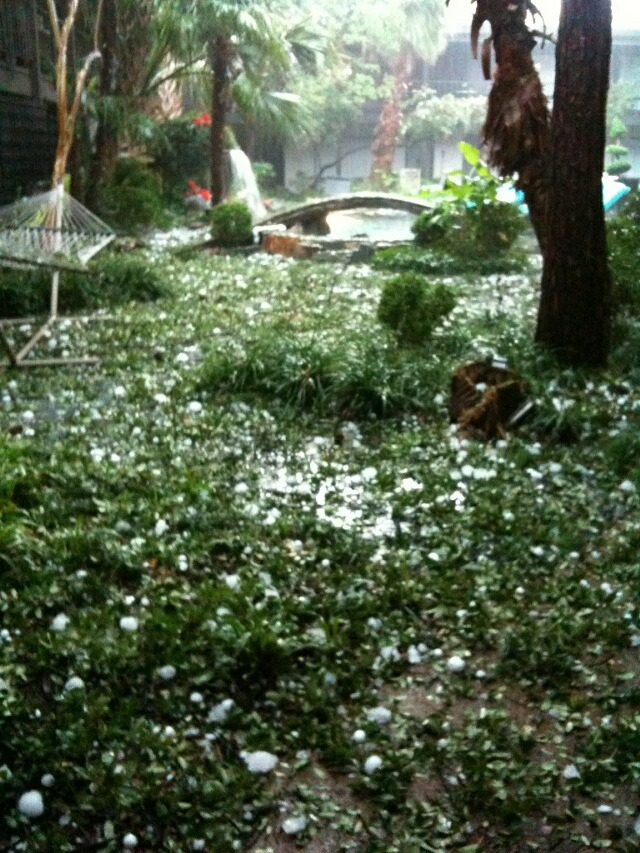 Hello hailstorm, Our courtyard after 30 minutes of being pounded by Texas-sized hail.
