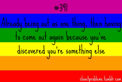 closetproblems:  Black text on a rainbow background: Number 391, already being out as one thing, then having to come out again because you've discovered you're something else