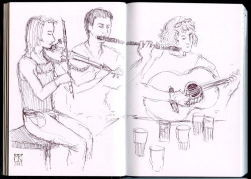 young musicians, from my Ireland sketchbook