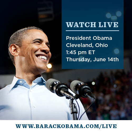 barackobama:  Tomorrow: POTUS rocks Cleveland. Don't miss it.