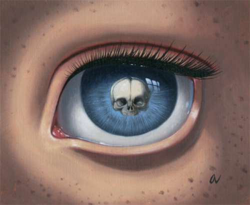 Skeleton Eye (Blue), After Escher 4 x 5 inchesOil on panelSold