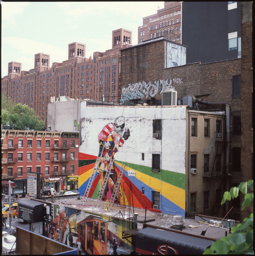 Kobra Mural in Progress from High Line by Shawn Hoke on Flickr.Pretty dope Kobra off the Highline in Chelsea