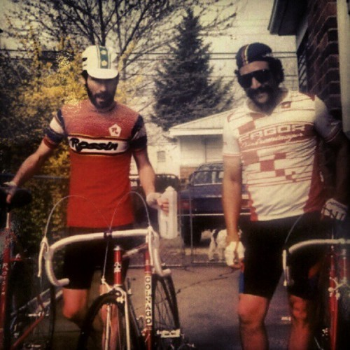 dadsaretheoriginalhipster:  Your dad was into cycling before you were and he's got the bibs to prove it. Seated atop a Brooks throne, he was a Campagnolo-king of the streets that downtube-shifted his way to hero status. He gave pedal-honies hot pants every time he paused his cadence to flash them a velo-stare. He could field dress a bike faster than most could fix a flat. And, the only performance enhancing drugs he ever needed was a cold PBR after crushing a century ride.  So hipsters, next time you're asshole deep in your spandex while struggling up a mountain-monster and swearing you're going to quit smoking American Spirits, remember this… There's only one thing that your dad rode harder than his road bike…