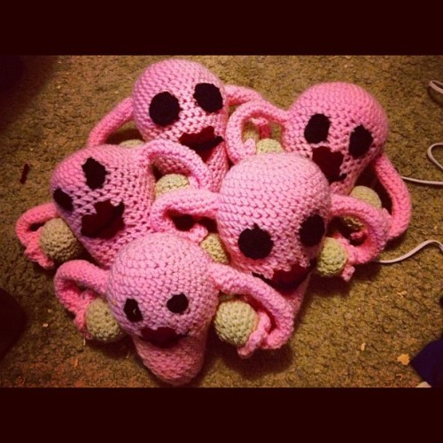 This is my uterus army that is going up for sale at our craft show this weekend, check out our #etsy at www.etsy.com/shop/yarnbombin and then go like our Facebook page www.facebook.com/yarnbombinyarnarts for coupon codes and a chance to win gift vouchers good toward our shop #yarn #crochet #knitting #handmade #awesome #unique #uterus #female #feminine #toy #plush #doll #art #shop #sexism #funny #diy #craft #gift #present (Taken with Instagram)
