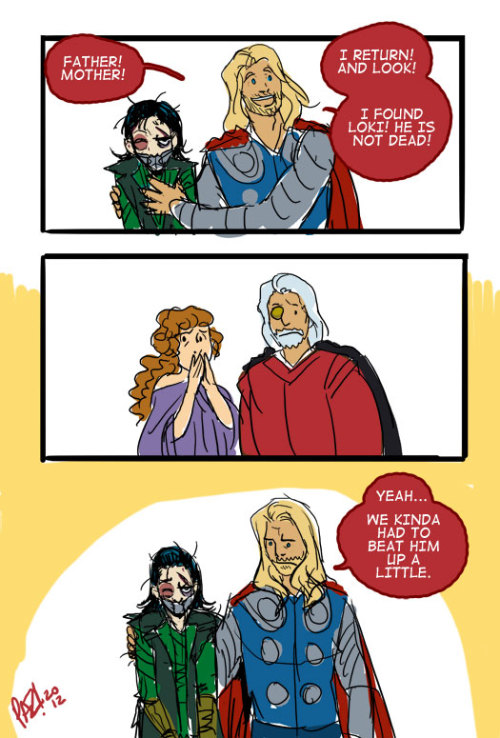 Post Avengers awkward family reunion. Sorry if you're tired of all my Thor and Loki doodles. Thor is on netflix. Blame netflix.