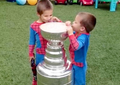 One day there's champagne in the Stanley Cup, the next there's chocolate milk.