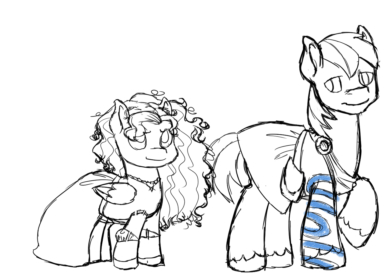 askburningash:  I said I'd do it. (Also included a Burning Ash as Merida for giggles.) I dunno if I wanna give Big Mac Lord Macintosh's tattoos, but I gave him Young Macintosh's tattoos for now.  EEEEEEEEEEEEE!!!!!