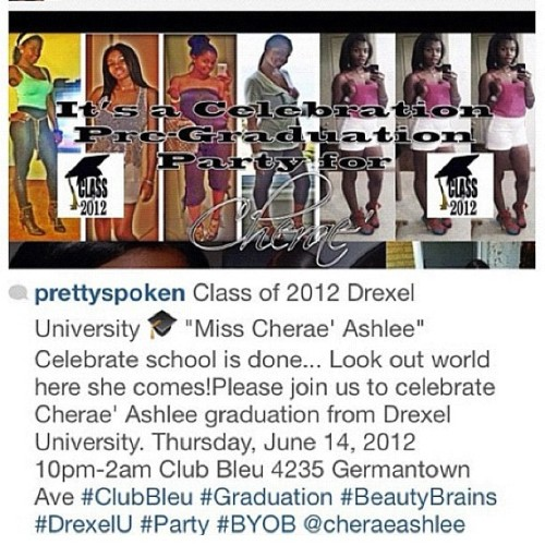 TOMORROW CLUB BLEU IT'S A CELEBRATION BISHES!!!!! COME PARTY WITH @cheraeashlee #BeautyNBrains #DrexelU #Classof2012 #Success #TeamLSP #Positivity #Love #Friendship #Party #Celebrate #PrettyWomen #Church  (Taken with Instagram)
