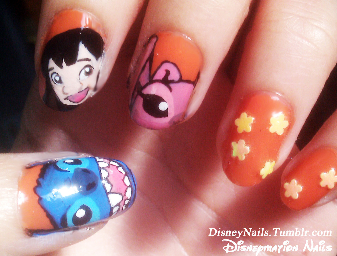 Disney's Lilo and Stitch Nails - Made by Lauren Denise Salinas Acrylic self hand painted nails, natural nails used. A request from my cousin Alet!  DISNEYMATION NAILS