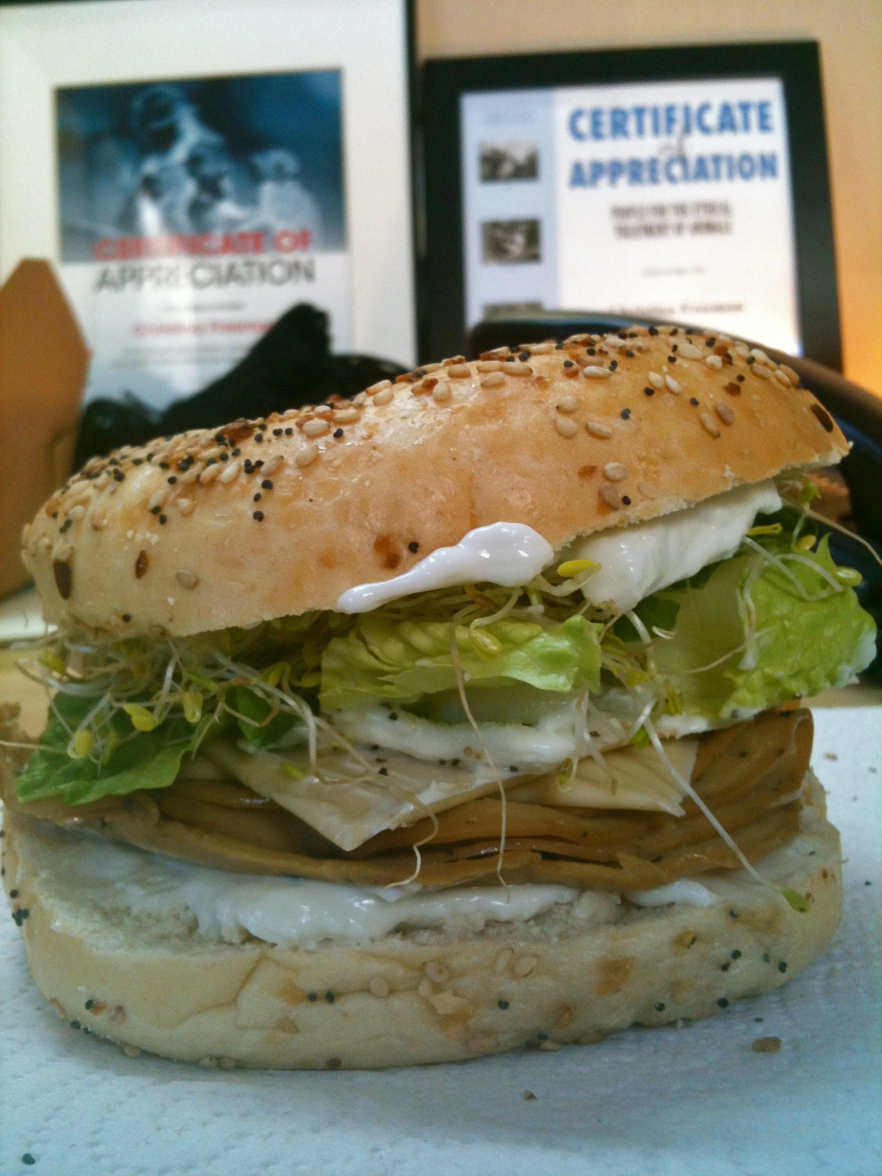Bagel sandwich! Tofurky slices, Vegenaise, vegan cheese slices, sprouts, & lettuce!