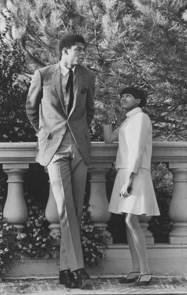 UCLA basketball player Lewis Alcindor (aka Kareem Abdul Jabbar) with girlfriend,1967