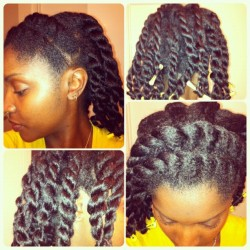 Tonight's styling: double flat twist across the crown, two strand twists for the back with perm rods on the ends. #naturalhair #flattwists #twostrandtwists (Taken with Instagram)