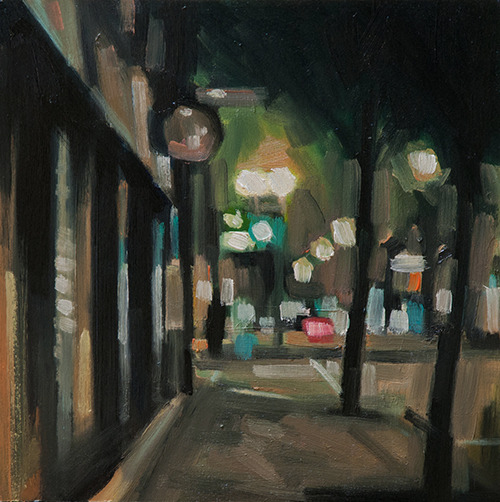 "St. Henri, night 10""x10"" oil and wood board."