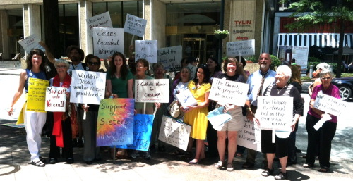 Outside the US Bishops' meeting in Atlanta 6/13/12, with the #nunjustice petition