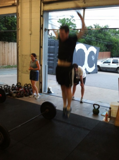 Ryan from my TueThur 6:15AM class getting LEGIT air on his burpees!!