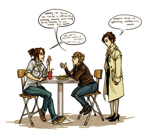 salternates:  kawaiiluci answered your question:  prompts?  Sam, Dean, and Cas genderswap! =D spoiler alert: idk how to draw women i have a lot of thoughts on genderswapped designs, but i'm going to check myself and do a separate post on that.