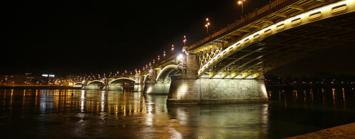 The renewed Margit bridge at night - panorama 2 by Romeodesign on Flickr.