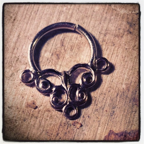 16g 5/16 Silver and Brass Ornate Septum by Kristin Young at Honeycomb Organics