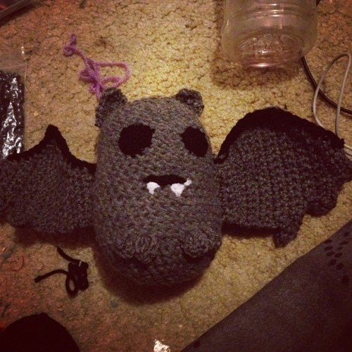 One bat finished, 3 to go #bat #baturday #vampire #vamp #animal #crochet #craft #diy #art #doll #plush #toy #yarn #knitting  (Taken with Instagram)
