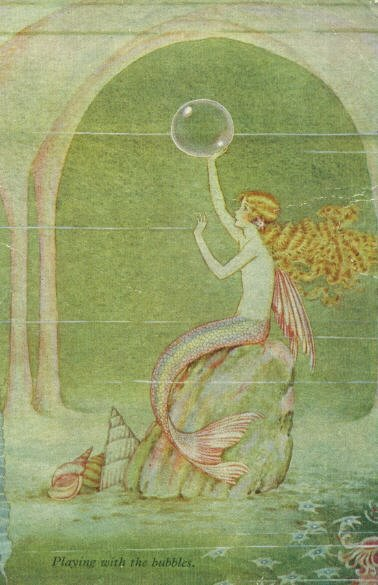 "sailorgil:  "" Playing With The Bubbles ""  ….  Postcard (Circa 1920's) ….. Artist:  Ida Rentoul Outhwaite"