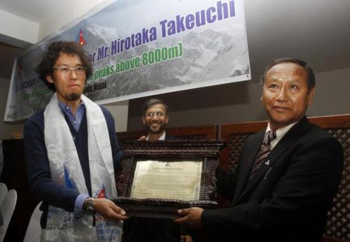 "Man climbs all world's 14 tallest peaks  A Japanese mountaineer finished a climb in Nepal last month that made him his country's first person to scale the world's 14 tallest mountains. ""I have always wanted to climb mountains as long as I remember,"" Hirotaka Takeuchi said Monday in Katmandu. ""It was always my childhood dream to scale high peaks."" The Nepal Mountaineering Association said Takeuchi scaled the 8,167-meter-high (26,788-foot-high) Mount Dhaulagiri on May 26 to finish his 17-year mission. All the top 14 peaks — including Everest, K2 and Kanchenjunga — are in the Himalayan or Karakoram ranges of Asia. Takeuchi is the 30th person to climb all 14 and the first climber from Japan, association official Deebash Bikram Shah said. Takeuchi plans to return to the Himalayas to climb another peak next year. ""I will continue to climb as long as my body will allow me,"" he said. Takeuchi's mission almost ended in 2007 when an avalanche on Mount Gashabrum swept him some 300 meters (1,000 feet) and buried him completely in snow. Two German climbers were killed in the avalanche, and a third was injured badly. Takeuchi was dug out by other mountaineers and rescued by helicopter."
