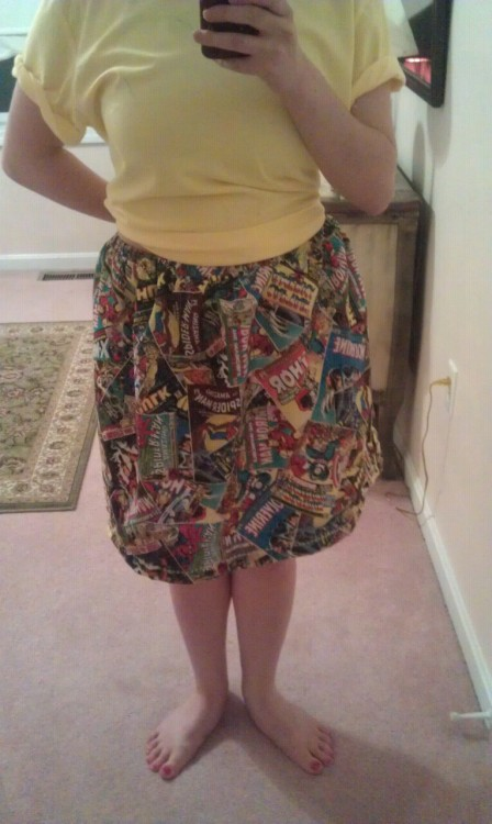 LOOK, I MADE A SKIRT.  ignore my oversized pajamas shirt, just LOOK AT MY AVENGERS SKIRT.  AJDJCJAKALDJSJDOGKANDKQOFIV