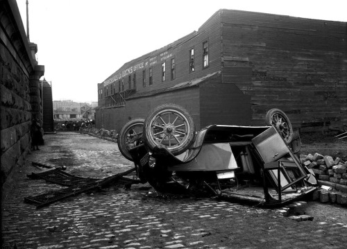 An overturned car, near the 145th Street Bridge ramp at Lenox Avenue, on July 10, 1917.