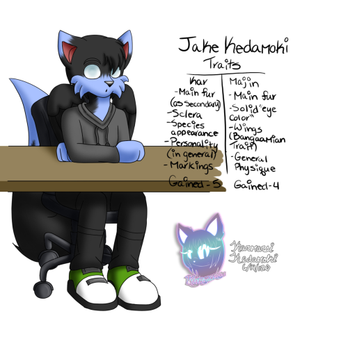 Jake Kedamoki - Concept ( Age 18 )  Rose Kedamoki's younger brother~Name : Jacob KedamokiAge : 18 ( in image )Gender : MaleSpecies : Fox ( dominant ) / Hedgehog / CatMartial Status : Taken ( Married in the future )Likes : Tinkering, workingDislikes : His mother upset/mad, failed / destroyed machines ( the ones he makes ), most vegetables General personality : A mama's boy for the most part, he loves tinkering and building things, can be quiet at times when in thoughtFun fact - He's built things such as tanks and missiles for Bangaamia
