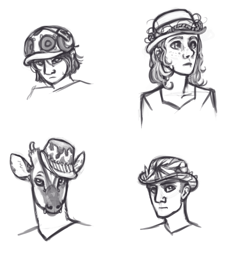 "I doodled some Elementalists. Elementalists are magic users who get around the complexities of spells by having magic only apply their requests to an extremely restricted set of things. Like a single ""element"" though it can be anything if it's restricted enough. They all have to wear hats that are kind of like shrines to their element. I'll not say which one is what in case anyone wants to guess."