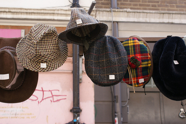 | ♕ |  Tweed Hats - Flea Market in London  | by © >rozzy