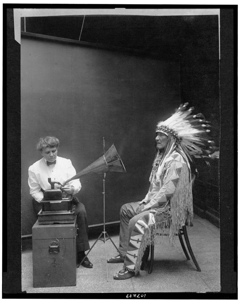Ethnomusicologist Frances Densmore recording Blackfoot chief Mountain Chief for the Bureau of American Ethnology (1916)