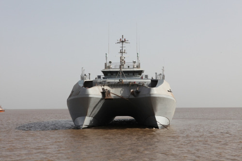 "Makar - The first ""Made in India"" state-of-the-art twin-hull survey vessels built by the Gujarat state govt company ""Alcock Ashdown Limited"" was recently handed over to the Indian Navy. This is the first in the series of six catamaran vessels being built in Gujarat for the Indian Navy.Note: The word catamaran meaning two hulled boat is derived from the Tamil word Kattumaram meaning 'tied wood'."