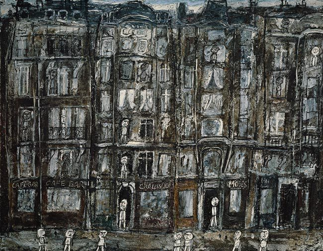 "museumuesum:  Jean Dubuffet Apartment Houses, Paris, 1946Oil with sand and charcoal on canvas 44 7/8 x 57 3/8 in. (114 x 145.7 cm) In 1923, after reading Hans Prinzhorn's Bildnerei der Geisteskranken (1922), in which the art of the mentally ill was first considered to have aesthetic value, Dubuffet became interested in pictures made by those without formal training—the uninitiated, the alienated, and especially the insane. Many years later, in 1945, he started a collection of these pictures, which he called ""Art Brut"" (""Raw Art""), that eventually comprised 5,000 items. Not only did he regard Art Brut as a more authentic, genuine, imaginative, and spontaneous form of artistic expression, but he also came to reject the methods and values of traditional art. ""Beautiful"" and ""ugly"" had no meaning for him, and he tirelessly defended his ""anti-art"" and ""anti-culture"" theories in lectures and in two volumes of essays (1967). He wanted his subject matter to be accessible to simple people and to relate to their daily lives, and thus his first paintings were of Parisians riding the crowded metro. This painting, part of yet another series of some fourteen oils and gouaches, focuses on pedestrians in various back alleys of Paris. Emulating the features of Art Brut, Dubuffet intentionally adopted a crude style. The street, sidewalks, and houses are stacked in rows, one above the other, without perspective, depth, or modeling. Windows and shop signs are stuck at random onto facades. The overall effect evokes the backdrop of a puppet theater, such as Dubuffet himself had built and decorated during his previous interlude as a painter (1934–37), when he also carved and painted marionettes."