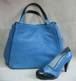 Blue purse & shoes by Livia Fashion Design