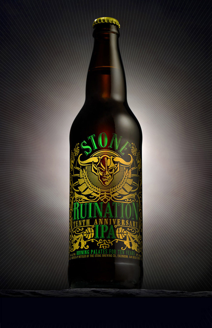 Stone Ruination IPA: 10th Anniversary Design (Designed by Stone Brewing Co.'s Senior Graphic Artist Amy Krone)