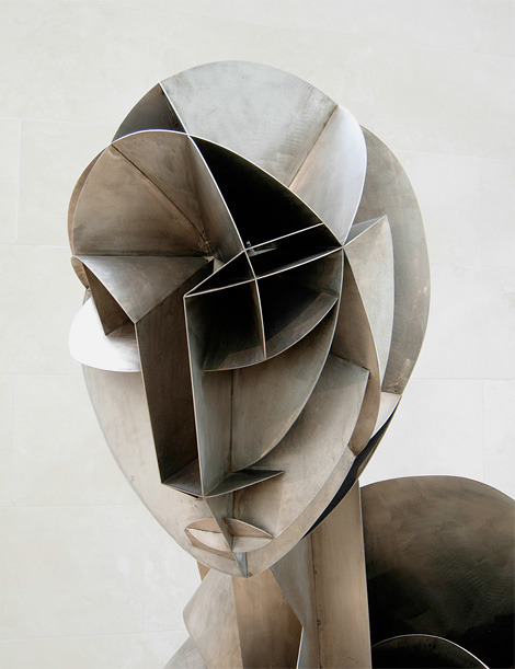 Detail from Head No. 2, by Russian Constructivist sculptor Naum Gabo (1890-1977). Via