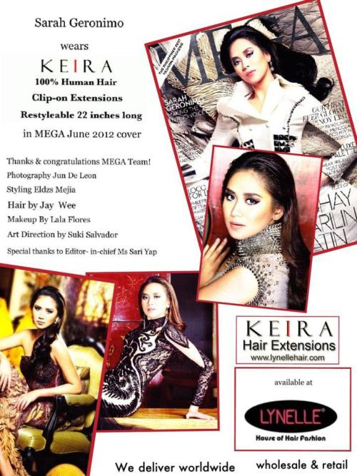 Sarah Geronimo wears KEIRA Clip-on Extensions in MEGA June 2012 cover! Filipino pride & elegance.Get a copy! Thank you MEGA team!