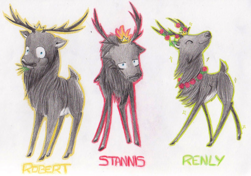 theon-baratheon:  Crowned Stags by ~TEH-beXki  OH GOD these are perfect though. The expressions - I can't even. Robert:    Stannis:   Renly: