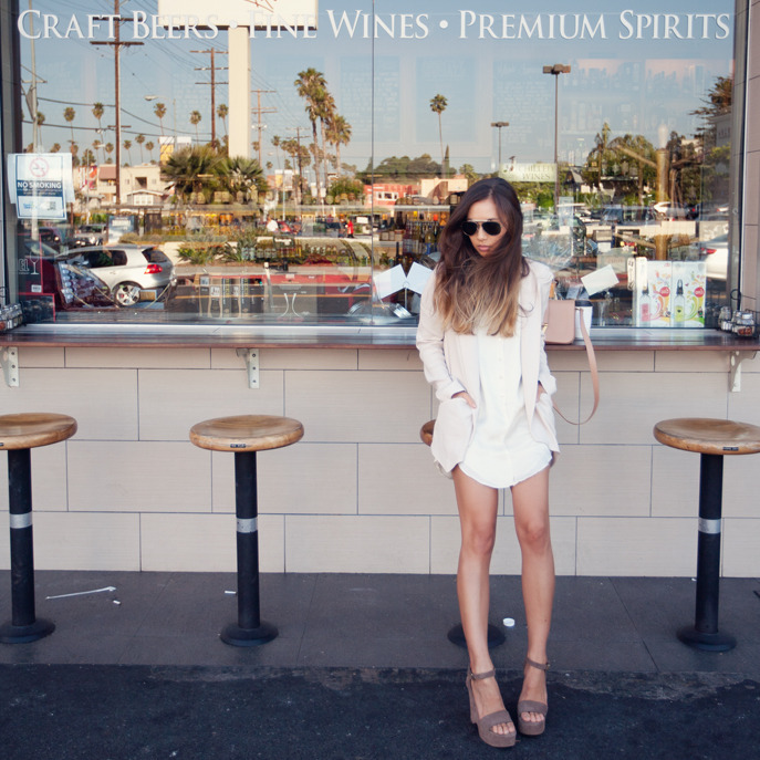 what-do-i-wear:  Vanessa Bruno blazer, Theyskens' Theory dress, L'Autre Chose heels, Céline aviators, Yves Saint Laurent bag (image: fashiontoast)