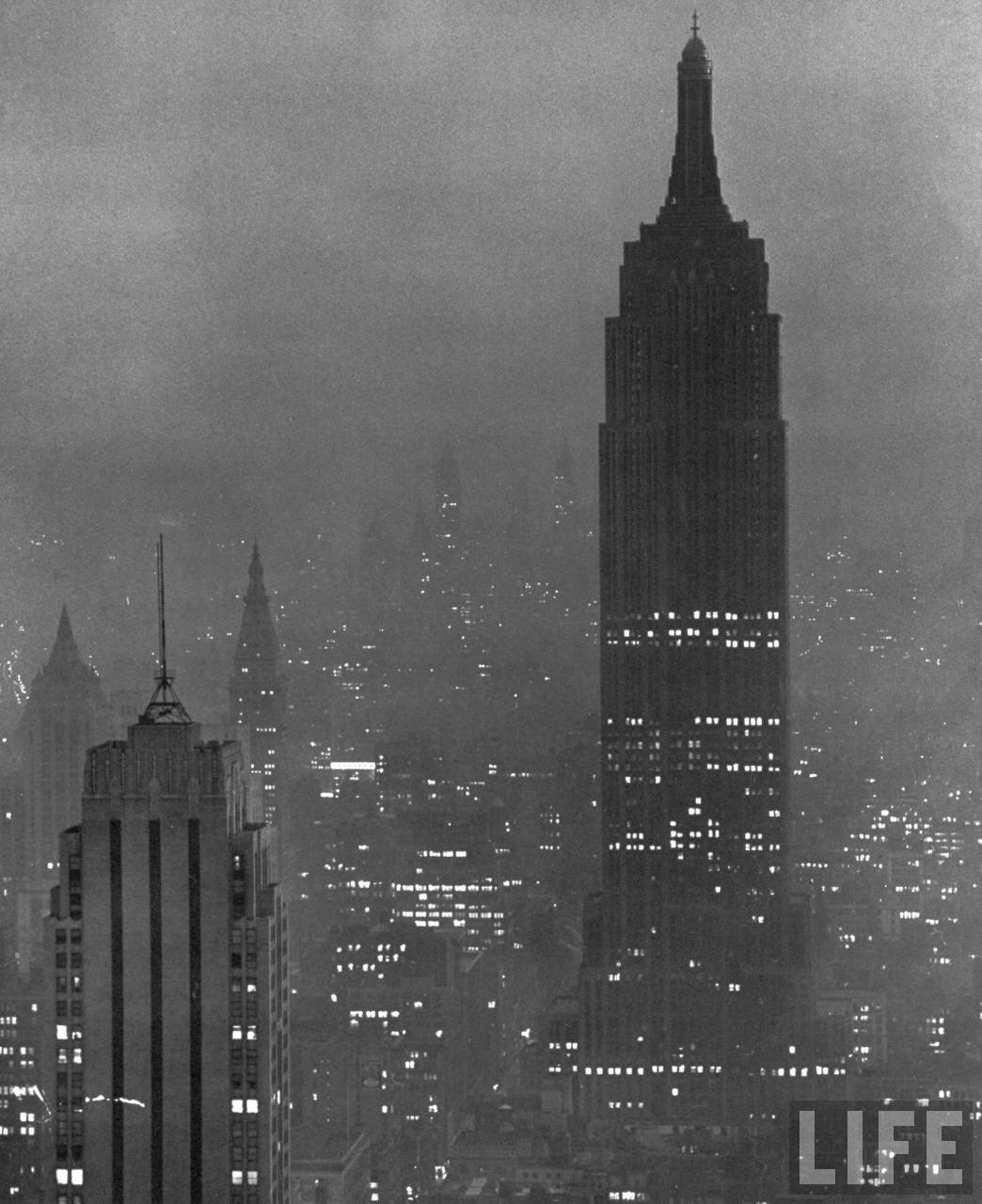 New York dimout during wartime to conserve city's energy costs, 1943. By Andreas Feininger