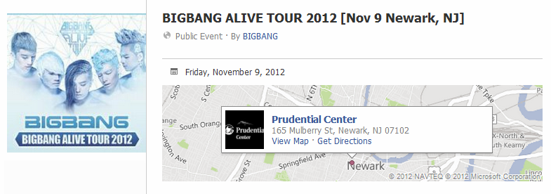 BIGBANG Alive Tour 2012 at Newark, New Jersey on November 9th at Prudential Center!