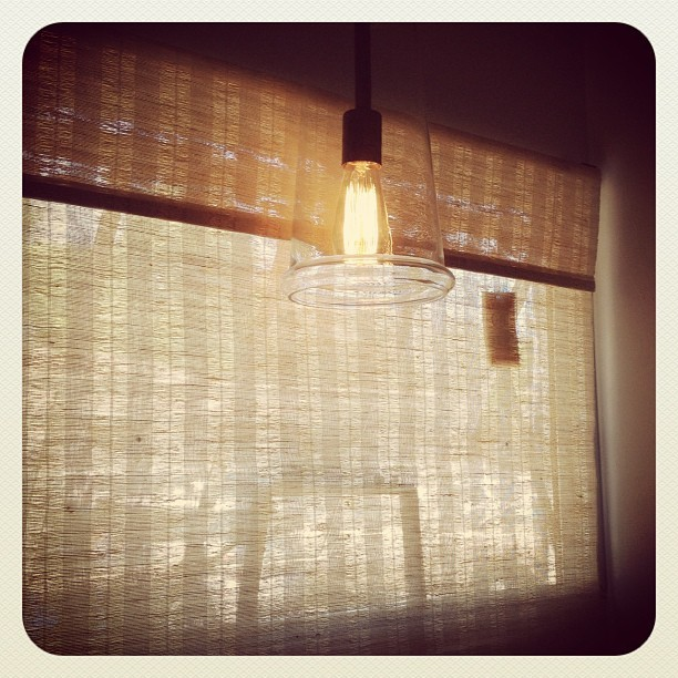 #pennyicecreamery #santacruz #bathroom #lightbulb #curtain (Taken with Instagram)